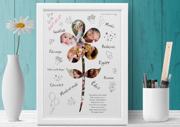 Fényképes egyedi poszter, virágforma. Nagyinak, nagymamának dédinek, dédmamának, édesanyának, kerek évfordulóra születésnapra csakúgy tanitó néni anyák nap