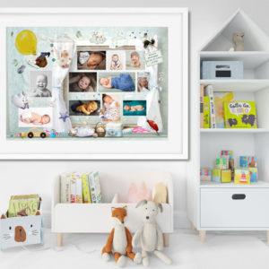 Kisfiú fényképes emléklap poszter, 1 éves infografika kollázs montázs milestone várandóság babaváró ajándék falidekoráció csillagtérkép egyedi fotós ajándék
