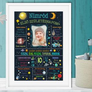 1 éves kisfiú fényképes szülinapi emléklap poszter bolygós csillagász infoposzter babastatisztika milestone chalkboard falidekor fotós ajándék csillag