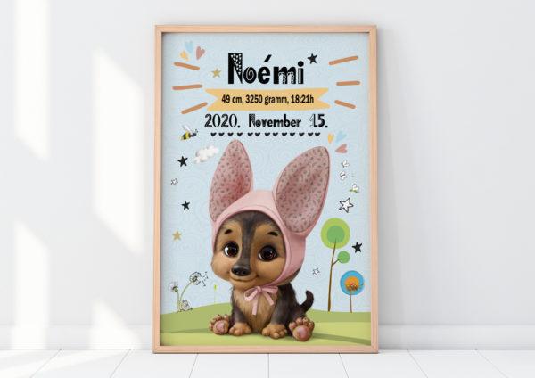 Kislány kiskutyás emléklap, babastatisztika