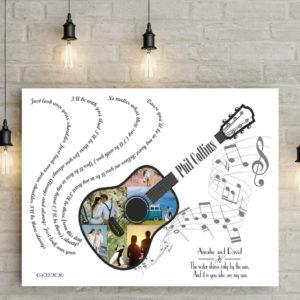 egyedi gitár poszter zenerajongó ajándék