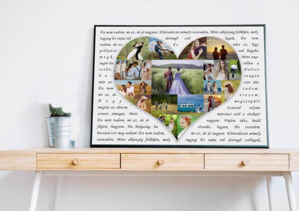 Fényképes sziv alakú szivecskés poszter, Fotós ajándék kollázs, kerek évfordulós ajándék, házasságévforduló, aranylakodalom, ezüslakodalom, szülinapi aji