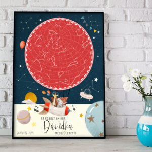 Csillagtérkép star map keresztelő ajándék babaszületés babaváró