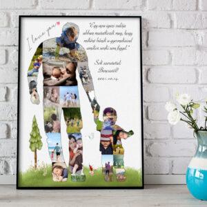 Apa fia fotókollázs, fényképes ajándék, montázs, születésnapi ajándék apák napi poszter, falidekoráció kerek évforduló nagyszülő nagypapa Papa unoka ajándék