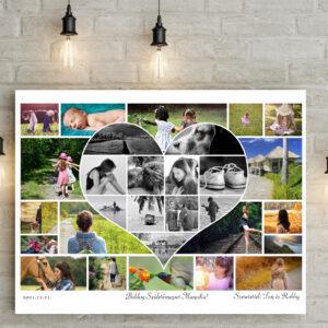 Egyedi személyre szóló szivecskés fotókollázs fotómontázs fényképes ajándék, nászajándék esküvő faldekor apának férjemnek lakásavató legjobb barát kerek évforduló