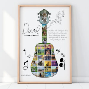 Egyedi személyre szóló gitár fotókollázs fotómontázs fényképes ajándék, nászajándék esküvő hanghullám falidekor apának férjemnek lakásavató legjobb barát