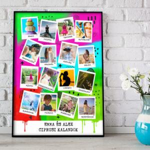 Egyedi fényképes kollázs, fotókollázs, személyre szóló polaroid fotómontázs fényképes ajándék, nyaralási ajándék, nászajándék esküvői fali dekor apának férjemnek legjobb barátomnak, kislányomnak, nagy lányomnak, lakásavató, vicces ajándék, kerek évforduló
