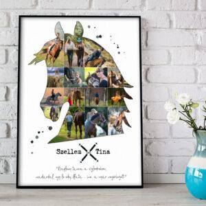 Egyedi fényképes ló lovas horse fotókollázs, emléklap falidekoráció. Személyre szóló különleges születésnapi lovastréner lovarda, ménes