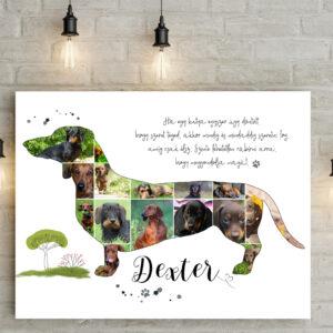 Egyedi tacskós fotókollázs, személyre szóó kutyus kutya poszter, fényképes fotós ajándék, születésnapra, szülinapra kutyák szerelmeseinek